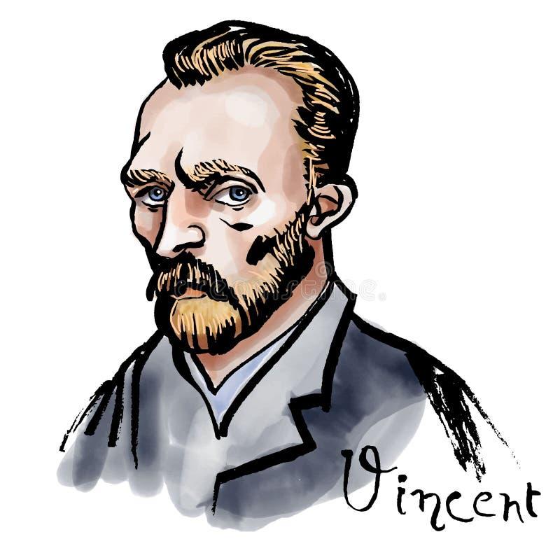 Vincent van Gogh-Aquarellporträt stock abbildung