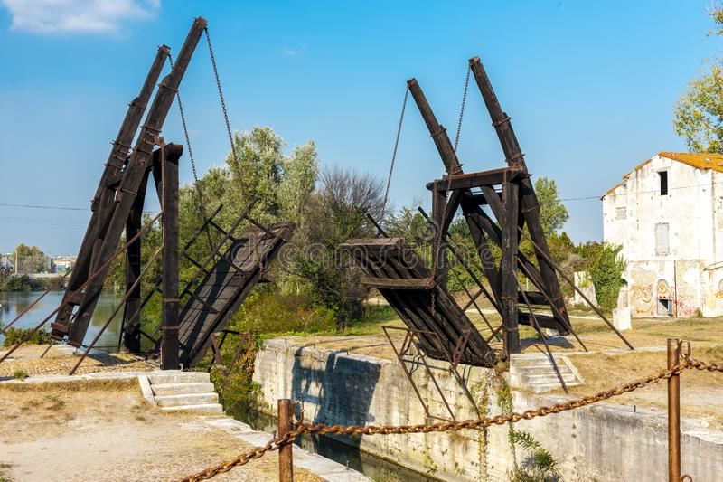 Vincent van Gogh bridge. Near Arles, Provence, France outdoors outside exteriors europe western alpes cote azur bouches du rhone department pont architecture stock image