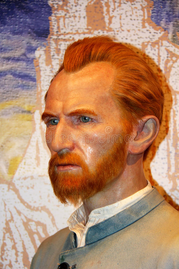 Vincent Van Gogh. London, - United Kingdom, 08, July 2014. Madame Tussauds in London. Waxwork statue of Vincent Van Gogh. Created by Madam Tussauds in 1884 royalty free stock photo