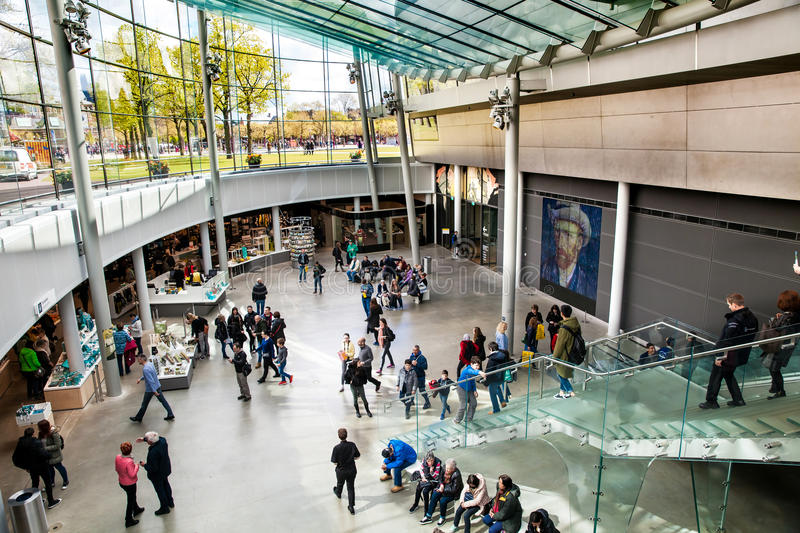 Vincent Van Gogh Museum interior in Amsterdam, Netherlands. Amsterdam, Netherlands - April, 2017: Vincent Van Gogh Museum interior in Amsterdam, Netherlands royalty free stock images