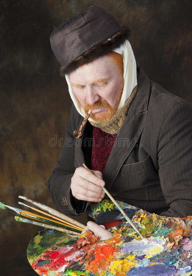 Vincent van Gogh portrait of dedication. Close-up portrait of the adult artist with red beard and mustache in the style of Vincent van Gogh studio on dark royalty free stock photos