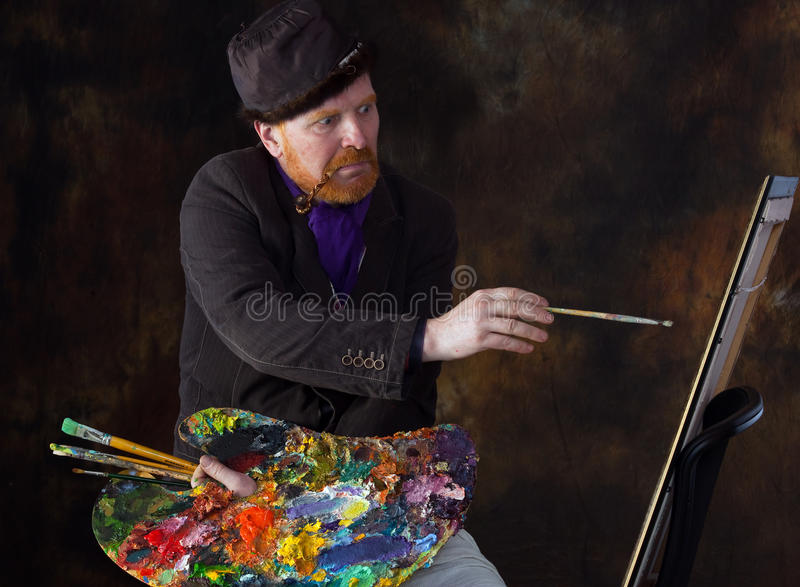 Vincent van Gogh portrait of dedication. Close-up portrait of the adult artist with red beard and mustache in the style of Vincent van Gogh studio on dark royalty free stock photo