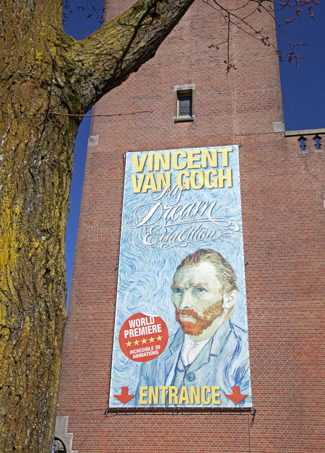 Vincent Van Gogh poster in Amsterdam royalty free stock image