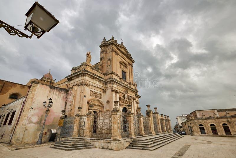 Ispica Sicily Italy. Vincenzo Sinatra`s Basilica Santa Maria Maggiore. Ispica Sicily Italy stock photography