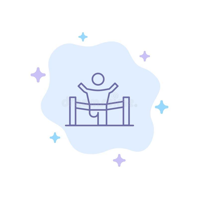 Vincitore, affare, rivestimento, capo, direzione, uomo, icona blu della corsa sul fondo astratto della nuvola royalty illustrazione gratis