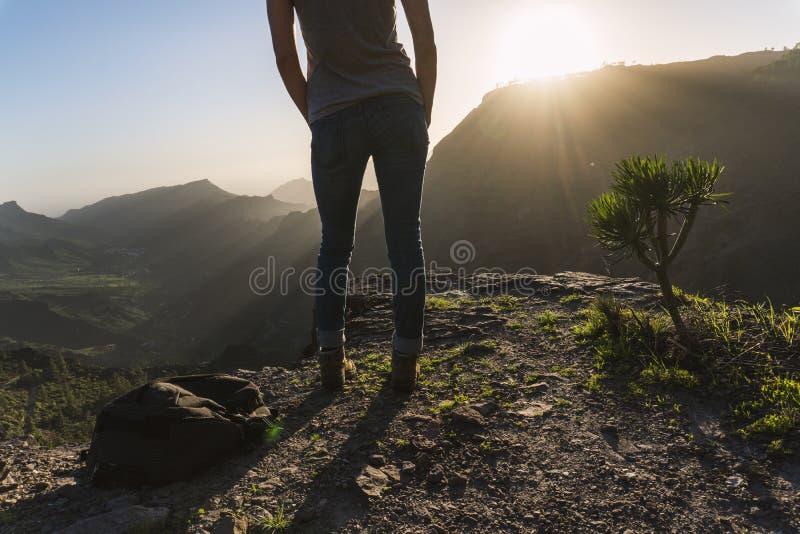 Vincitore della ragazza della montagna fotografie stock libere da diritti