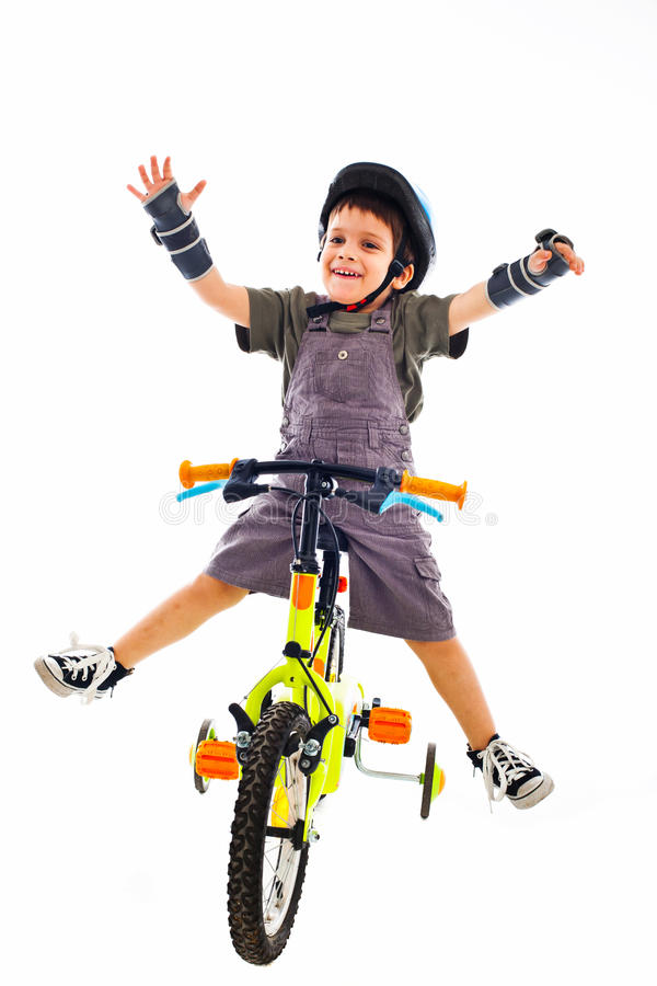 Vincitore di riciclaggio della concorrenza del bambino della bici fotografie stock libere da diritti