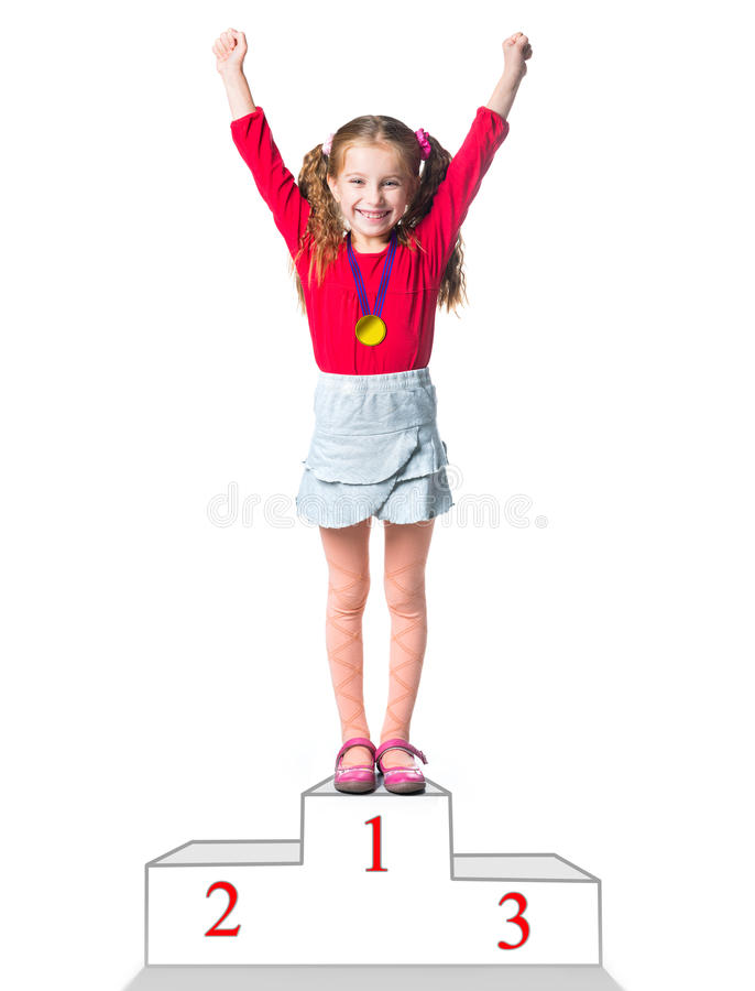 Vincitore su un podio immagini stock libere da diritti