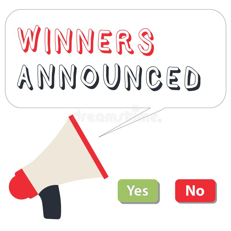 Vincitori del testo di scrittura di parola annunciati Concetto di affari per l'annuncio del chi ha vinto il concorso o tutta la g illustrazione vettoriale