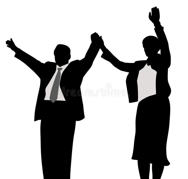 Vincitori della campagna politica di affari della moglie e del marito illustrazione di stock