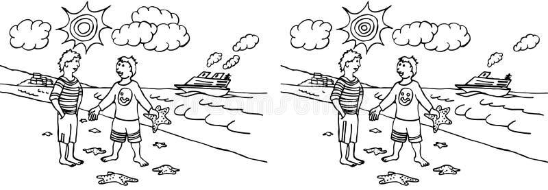 Vind 10 verschillen stock illustratie