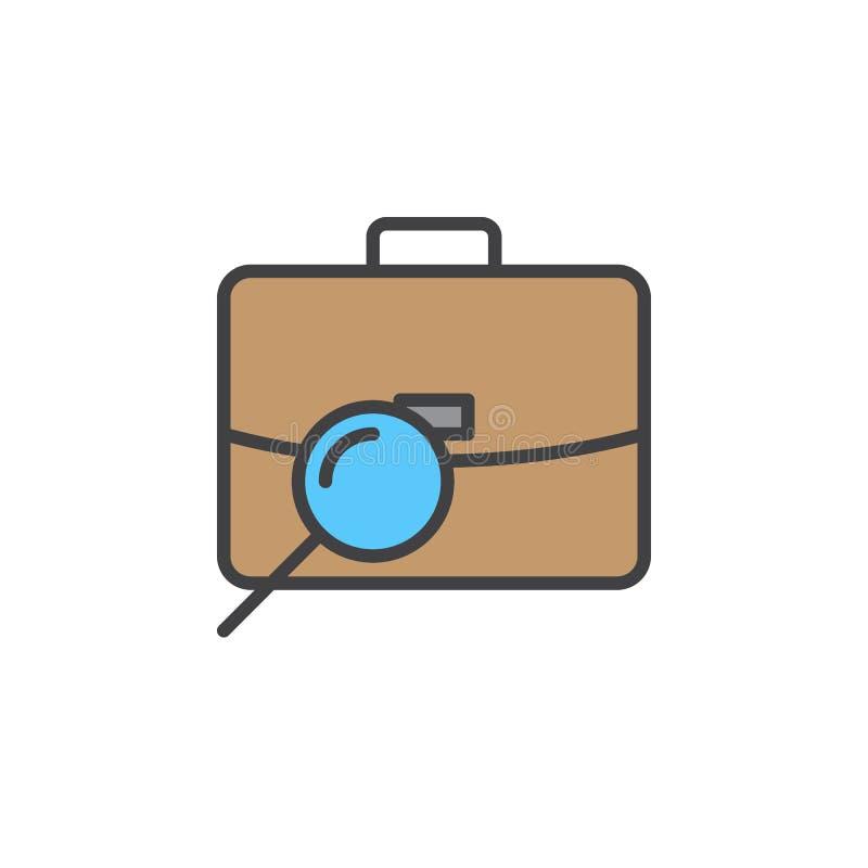 Vind baan, de lijnpictogram van het portefeuilleonderzoek, gevuld overzichts vectorteken, lineair kleurrijk pictogram dat op wit  stock illustratie
