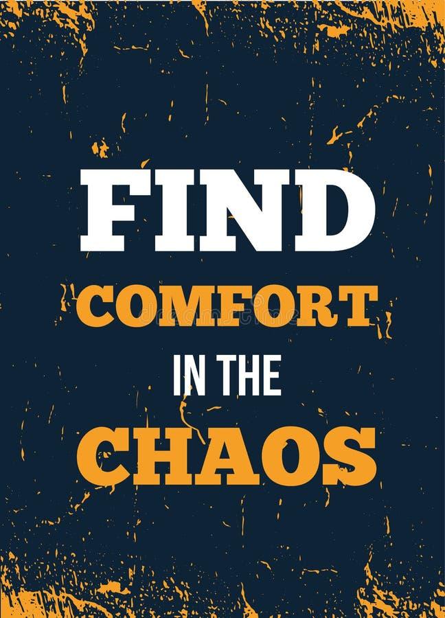 Vind comfort in de poster van het citaat van de chaos Afdrukken van T-shirts, moderne typografie Decoratieve inspiratie royalty-vrije illustratie