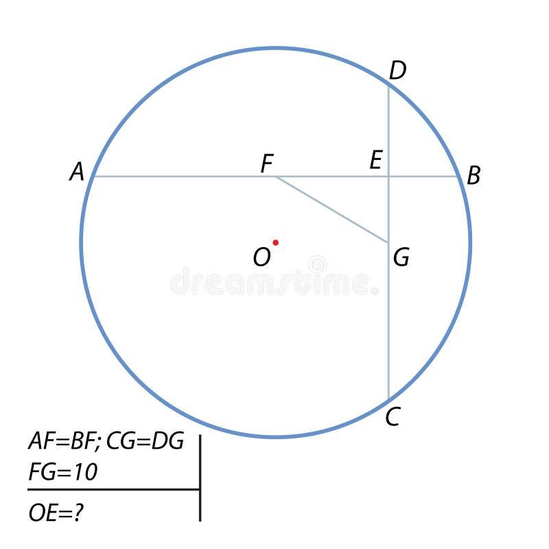 Vind de afstand van het centrum van de cirkel aan het punt van kruising van de snaren vector illustratie