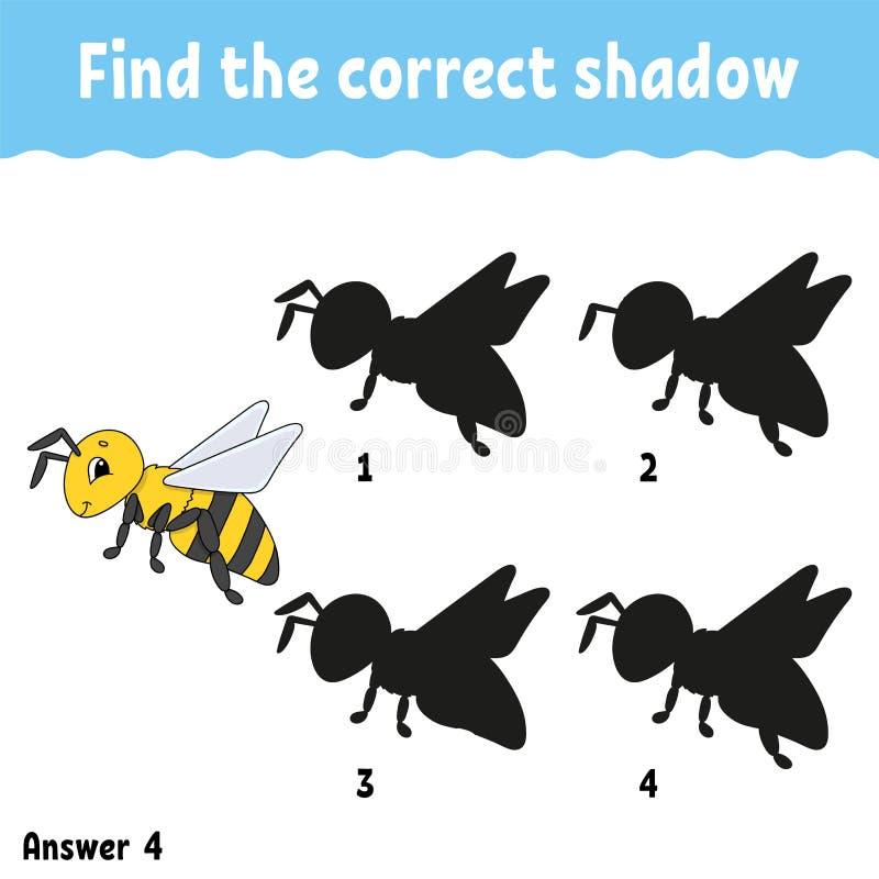 Vind de correcte schaduw Onderwijs die aantekenvel ontwikkelen Passend spel voor jonge geitjes Activiteitenpagina Raadsel voor ki vector illustratie