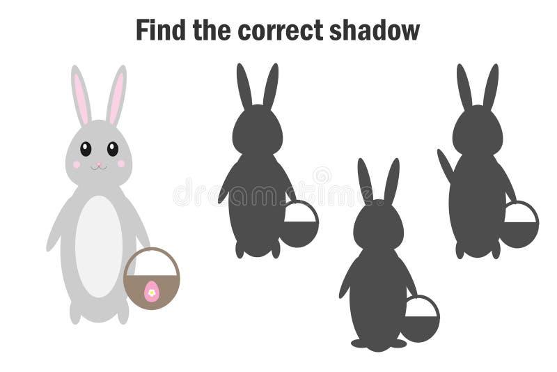 Vind de correcte schaduw, Pasen-spel voor kinderen, konijntje in beeldverhaalstijl, onderwijsspel voor jonge geitjes, peuteraante vector illustratie