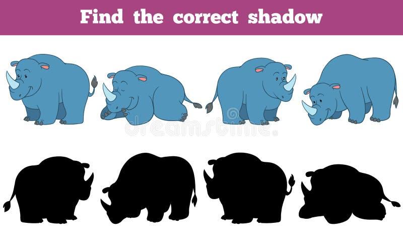 Vind de correcte schaduw (rinoceros) vector illustratie
