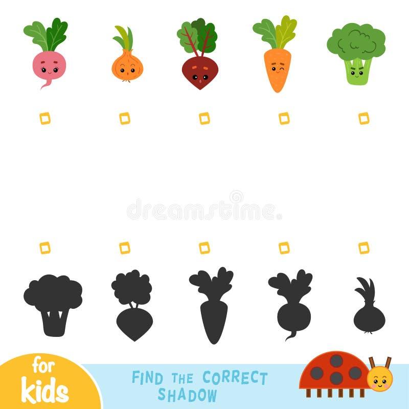 Vind de correcte schaduw, spel voor kinderen Reeks groenten vector illustratie