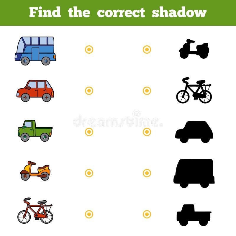 Vind de correcte schaduw, spel voor kinderen Reeks van vervoer stock illustratie