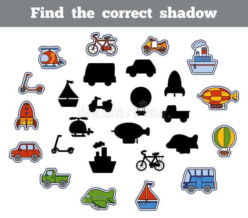 Vind de correcte schaduw, spel voor kinderen Reeks van vervoer royalty-vrije illustratie