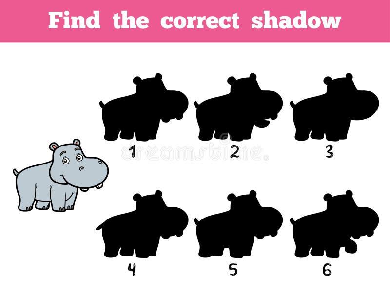Vind de correcte schaduw Weinig Hippo vector illustratie