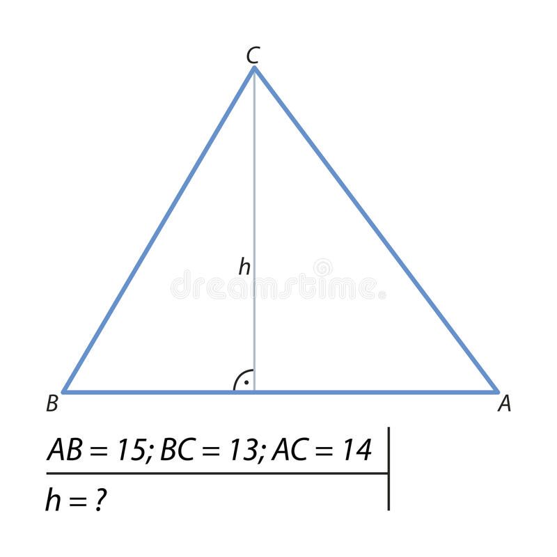 Vind de hoogte van de driehoek stock illustratie