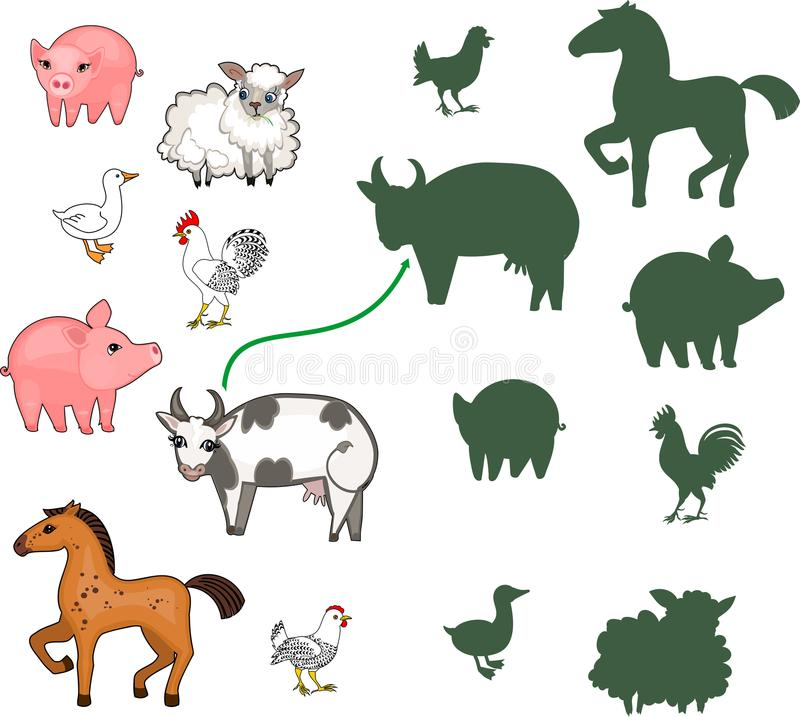 Vind de juiste schaduw Onderwijskinderen die spel aanpassen met landbouwbedrijfdieren voor kinderen van peuterleeftijd stock illustratie