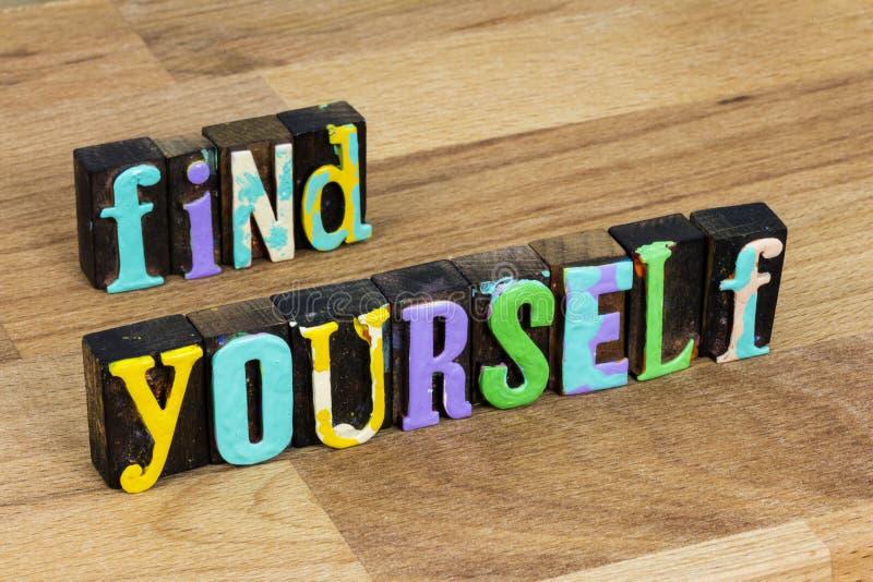 Vind denken voor jezelf, zoek naar geluk, kennis vertrouwen hoop liefde stock afbeelding