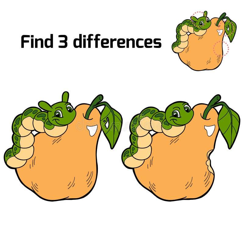Vind drie verschillen (peer en rupsband) vector illustratie