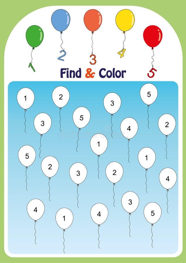 vind en kleur nummer 1-5, wiskundeaantekenvel voor jonge geitjes stock illustratie