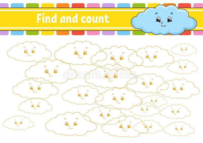 Vind en tel Onderwijs die aantekenvel ontwikkelen Activiteitenpagina met beelden Raadselspel voor kinderen Logische het denken op royalty-vrije illustratie