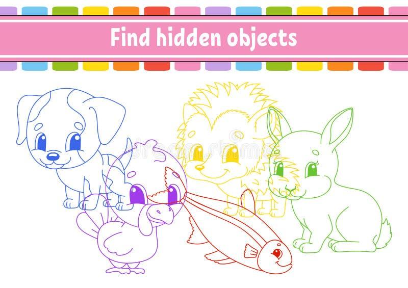 Vind en tel Onderwijs die aantekenvel ontwikkelen Activiteitenpagina met beelden Raadselspel voor kinderen Logische het denken op stock illustratie