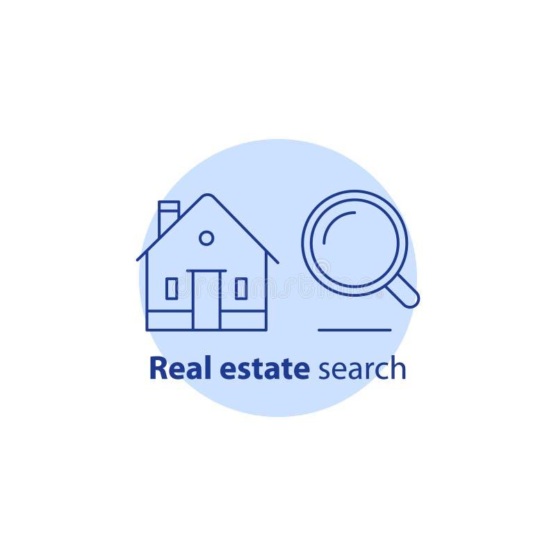 Vind het embleem van het huisconcept, de diensten van het onroerende goederenonderzoek, vergrootglas, woningbouw, vectorslagpicto royalty-vrije illustratie