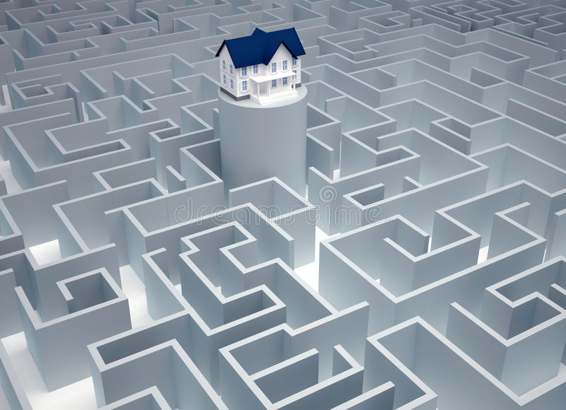 Vind het huis vector illustratie