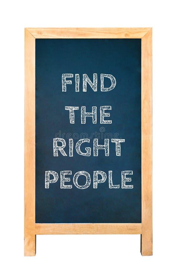 Vind het juiste bericht van de mensentekst op houten kaderraad stock foto