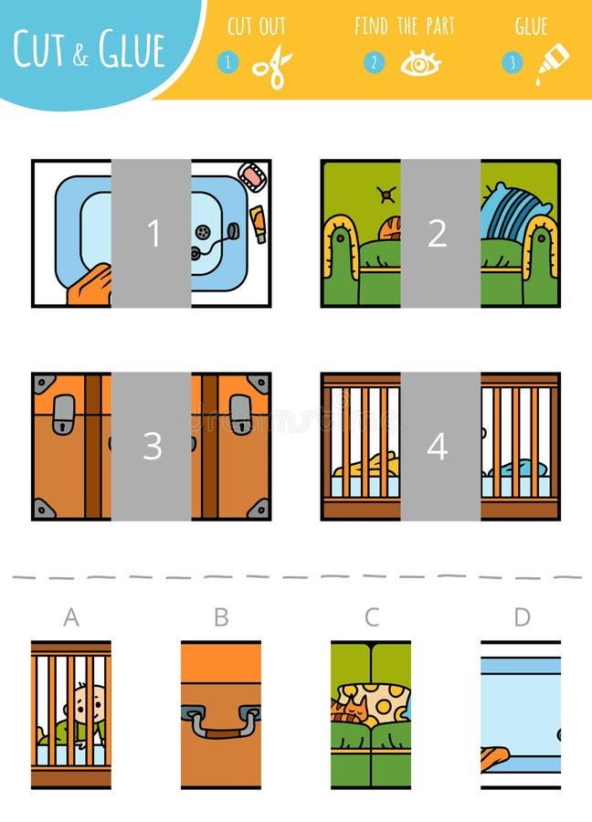 Vind het juiste deel Besnoeiing en lijmspel voor kinderen rechthoeken stock illustratie