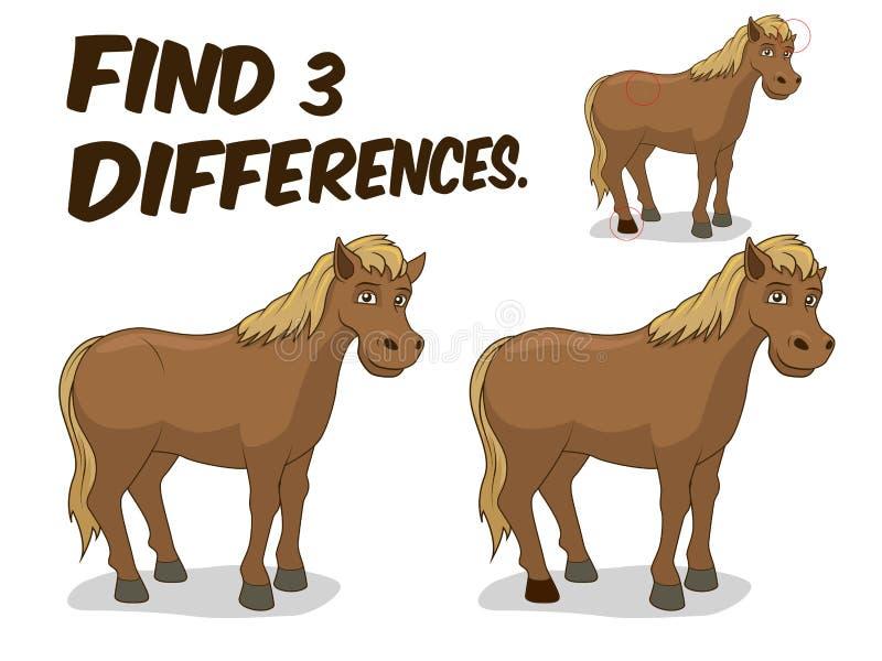 Vind het paard vectorillustratie van het verschillenspel vector illustratie