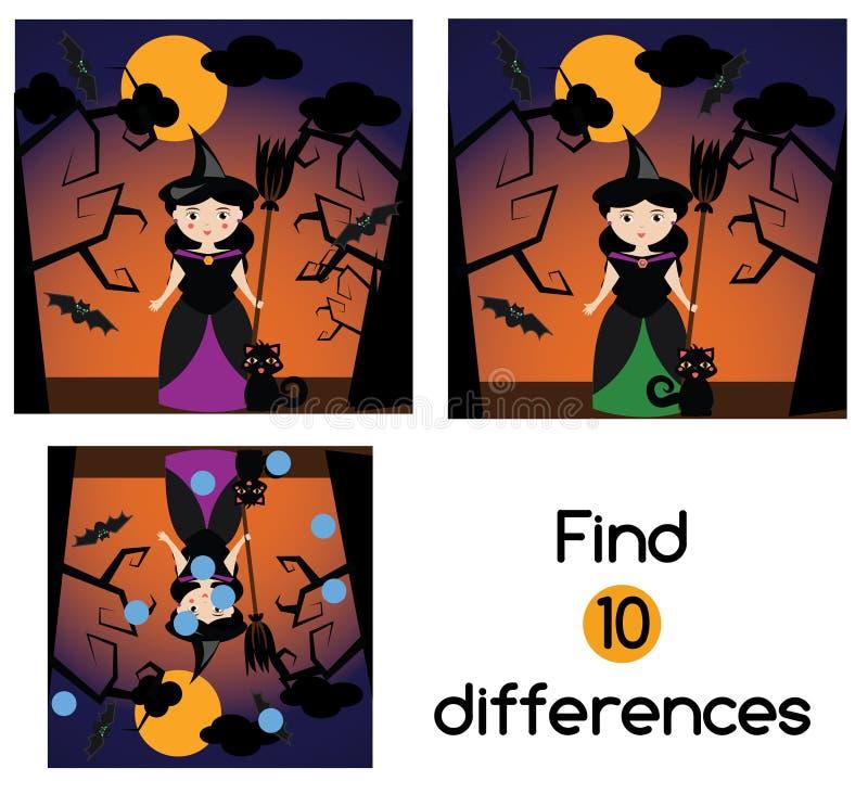 Vind het spel van verschillen onderwijskinderen Het blad van de jonge geitjesactiviteit, met Halloween-heksenkarakter vector illustratie
