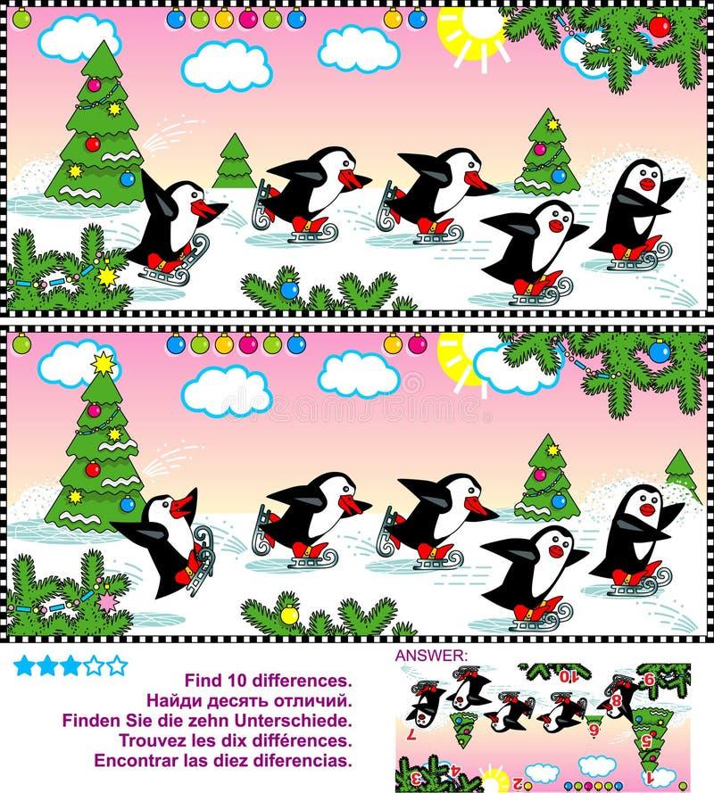 Vind het verschillen visuele raadsel - het schaatsen pinguïnen vector illustratie