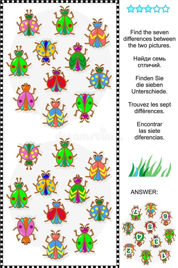Vind het verschillen visuele raadsel - insecten en kevers stock illustratie