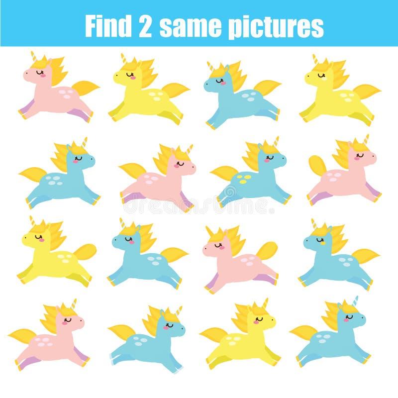 Vind hetzelfde onderwijsspel van beeldenkinderen Leuke eenhoorns vector illustratie