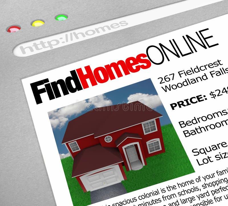 Vind Huizen Online - het Scherm van het Web vector illustratie