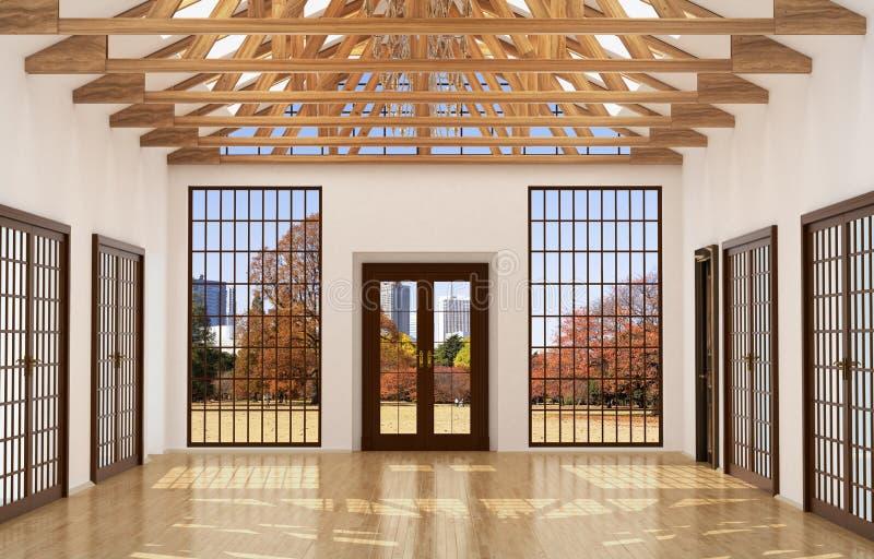 Vind inre stora Hall med spegeln, stock illustrationer