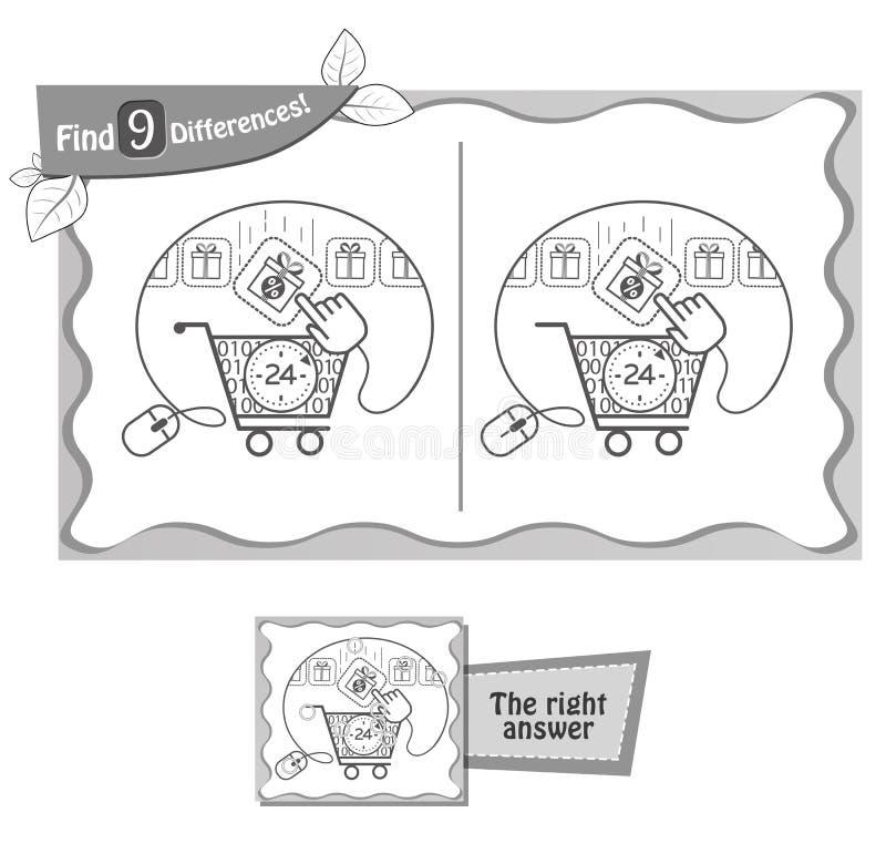 Vind 9 kortingen van het verschillenspel stock illustratie