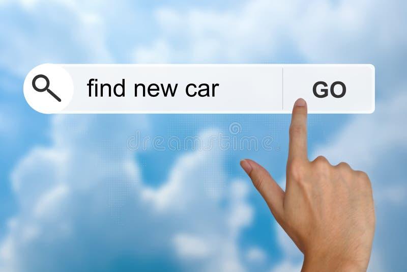 Vind nieuwe auto op onderzoekstoolbar royalty-vrije stock foto