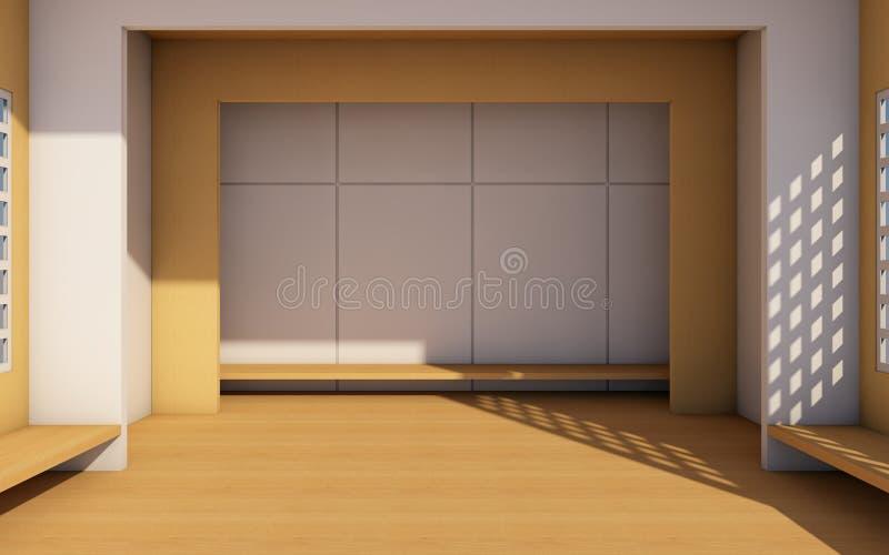 Vind och modernt enkelt med den vita tolkningen för vägg contemporary/3d royaltyfri illustrationer