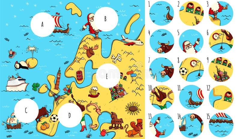 Vind ontbrekende stukken, oplossing in verborgen laag stock illustratie