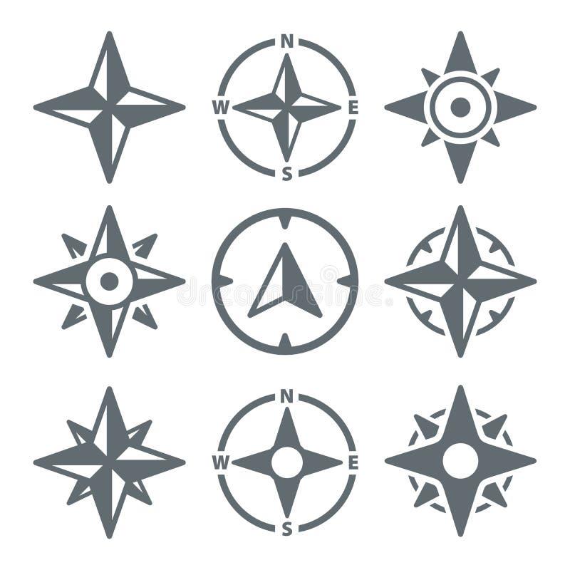 Vind Rose Compass Navigation Icons - vektorillustration stock illustrationer