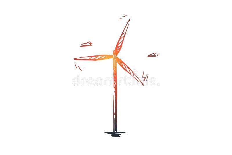 Vind turbin, energi, makt, alternativt begrepp Hand dragen isolerad vektor stock illustrationer