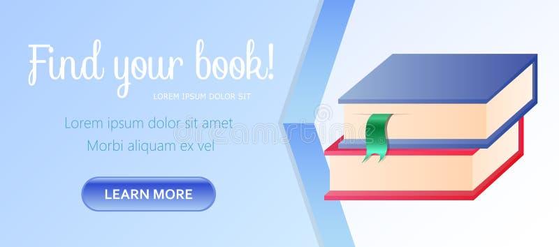 Vind Uw Boek Horizontale Banner, Stapel van Boeken vector illustratie
